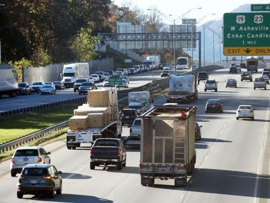 Traffic sometimes backs up on I-40 at Exit 44, where interstates 40, 26 and 240 come together.