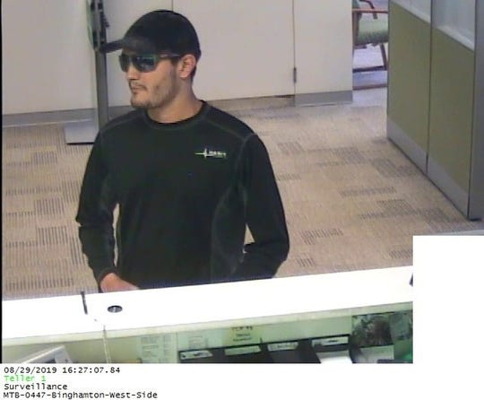 The Binghamton Police Department released this photo of a suspect in an alleged bank robbery that occurred Thursday afternoon at the M&T Bank, 49 Front St., Binghamton.