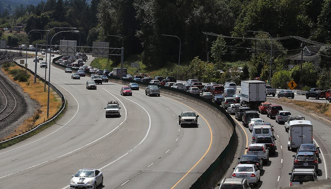 Traffic creeps along going south on Highway 3 after a pileup in Gorst on Thursday, August 29, 2019.