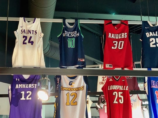 The jersey of former Warren Wilson College standout Danasia Dumas (10) is featured in the Ring of Honor exhibit at the Women's Basketball Hall of Fame in Knoxville.