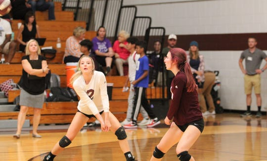 Owen senior Riley Marett (2) sets up to make a play, as the Warlassies take on North Henderson at home on Aug. 28.