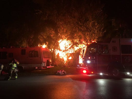 Firefighters respond to structure fire on Lake Superior Drive in Canaveral Groves.