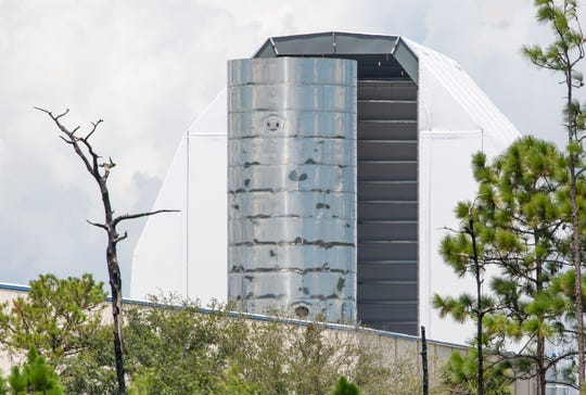 SpaceX's Starship prototype is seen outside its hangar in Cocoa on Friday, Aug. 30, 2019 ahead of Hurricane Dorian's impacts to the Space Coast.
