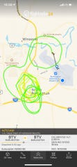 The path of a Department of Homeland Security helicopter in advance of Vice President Mike Pence's visit to Burlington International Airport is seen on this screenshot of a FlightRadar app screen on Friday, Aug. 30, 2019.
