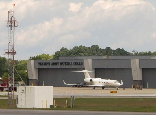 The executive jet that brought Vice President Mike Pence to Burlington International Airport is parked at the Vermont Army National Guard hangers on Friday, Aug. 30, 2019.