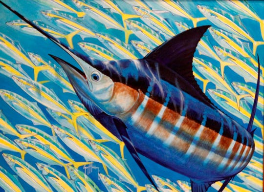 "One of Guy Harvey's paintings from the 2012 exhibit ""The Art of the Dive: Portraits of the Deep"" at the Art Museum of South Texas."