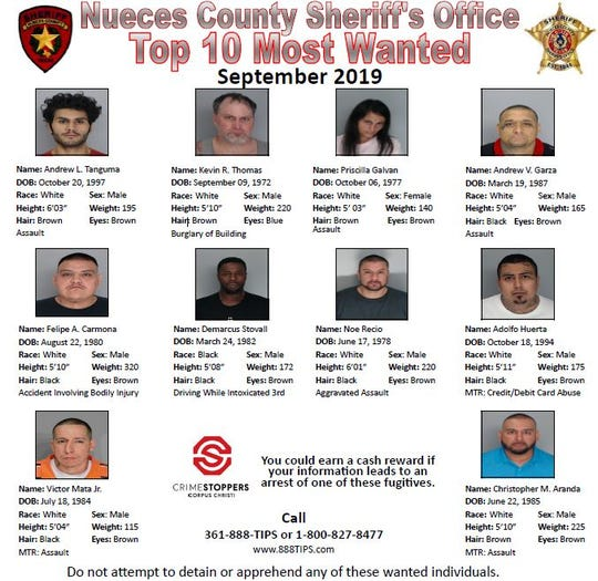 Nueces County Sheriff's Office Top 10 Most Wanted for September 2019. Anyone with information should call 361-888-8477 or 1-800-827-8477.