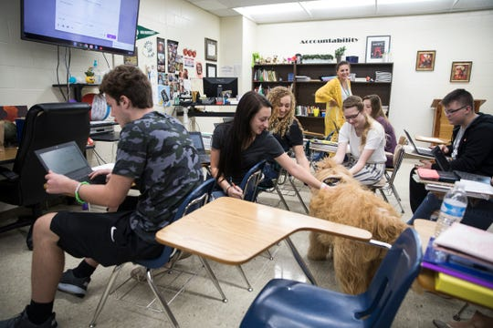 Charlie, a Goldendoodle, visits Ms. Nusbaum's English classroom as he walks around Huntington Local Schools Tuesday afternoon. Charlie is a therapy dog in training and is seen at Huntington a few days a week by owner and guidance counselor Anita Rogers. The tragic suicide of Zane Trace student and athlete Tristan Miller and the suicide of Rogers' father prompted her to look for ways to help those in the community struggling with mental health.