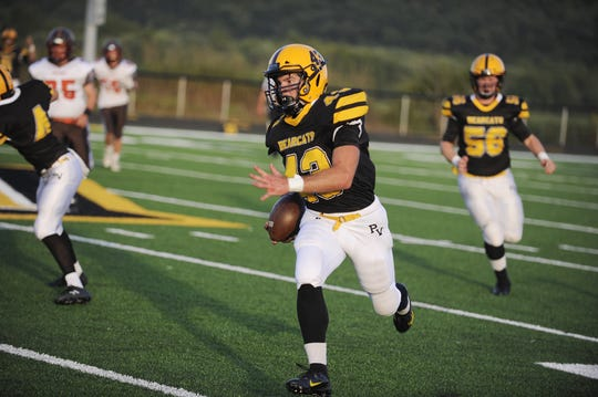 Paint Valley's Brayden Ison runs the ball in a 56-13 win over Eastern Pike at Paint Valley High School in Bainbridge, Ohio on Aug. 29, 2019.