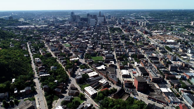 A drone view of Over-the-Rhine in Cincinnati Wednesday, Aug. 28, 2019.
