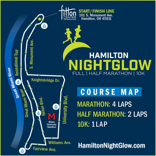 A large part of the Hamilton Nightglow marathon route runs along the Great Miami River.