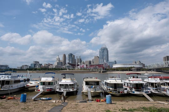 Boats line up along the Ohio River on Friday, August 30, 2019 in preparation for Labor Day weekend.