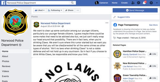 Norwood police say there are, in fact, laws when you drink White Claws.