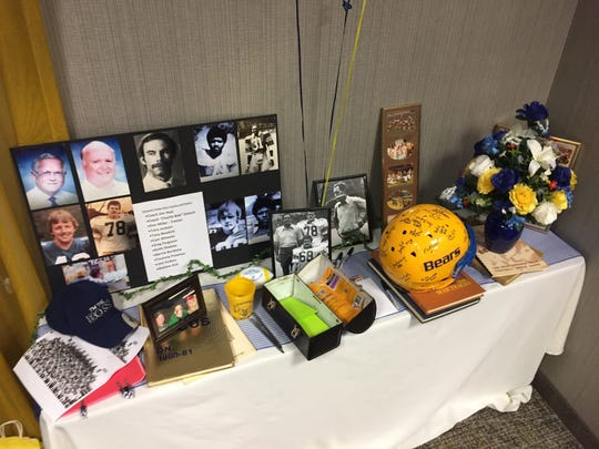 A memorabilia table at the West Virginia Tech reunion honoring former coach Roy Lucas Sr. in May, 2019.