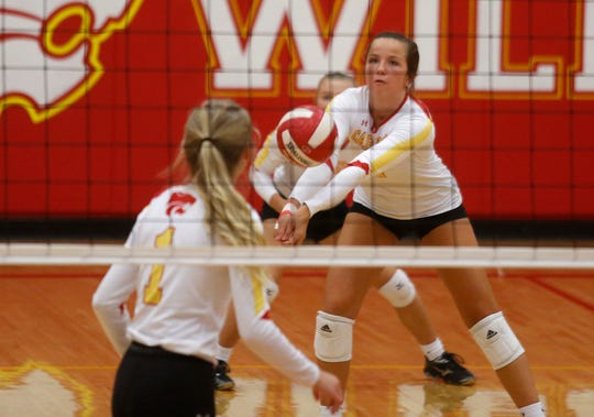 Carlisle senior Molly Hoekstra bumps the ball. Carlisle beat West Marshall 25-17, 25-17 and 25-14 at home on Aug. 29.