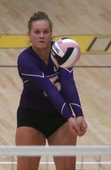 Indianola's Anna Marvelli bumps the ball. Southeast Polk beat Indianola 25-18 and 25-23 in an Aug. 29 tournament at Southeast Polk High School.