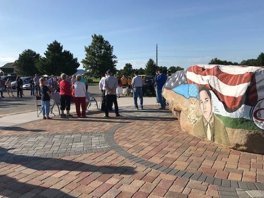 Nearly 100 people gathered Aug. 29 to dedicate the Warren County Veterans Memorial located on Warrior Run Golf Course. The memorial surrounds the Warren County Freedom Rock which was dedicated last November.