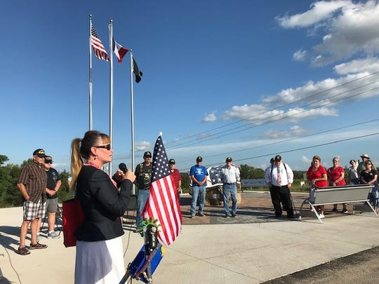 Warren County Supervisor Crystal McIntyre, a U.S. Army veteran, spoke at the Warren County Veterans Memorial Dedication Aug. 29.