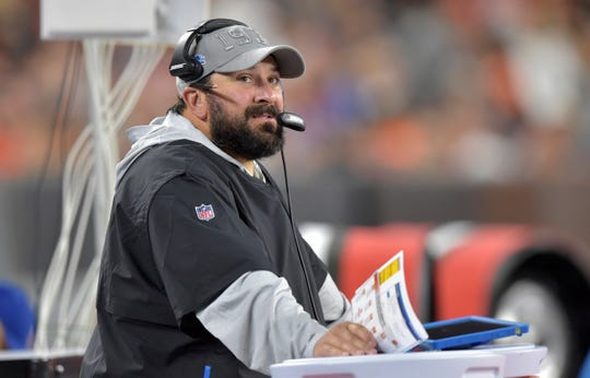 Detroit Lions coach Matt Patricia watches during the first half of the team's NFL preseason football game against the Cleveland Browns, Thursday, Aug. 29, 2019, in Cleveland.