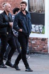 "Nickola Shreli, left, with Liam Hemsworth in ""Killerman."""
