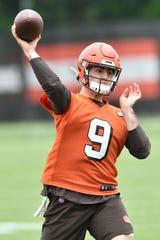 Cleveland Browns quarterback David Blough throws during minicamp June 4, 2019.