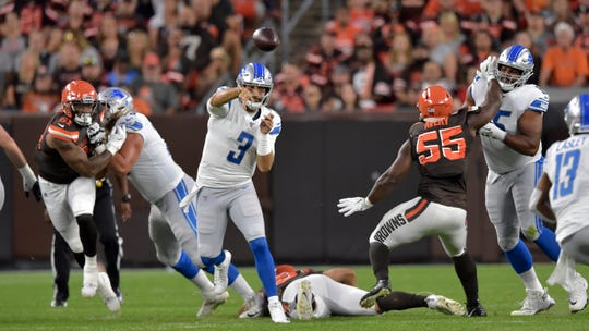 Detroit Lions quarterback Tom Savage (3) throws during the first half of the team's NFL preseason football game against the Cleveland Browns, Thursday, Aug. 29, 2019, in Cleveland.