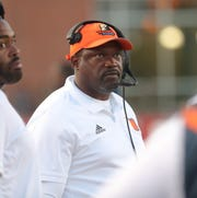 Morgan State Bears head coach Tyrone Wheatley on the sidelines during action against the Bowling Green Falcons Thursday August 29, 2019 at Doyt L. Perry Stadium in Bowling Green, Ohio.