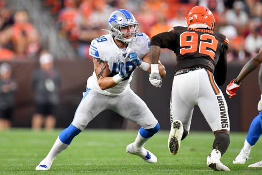 Lions tight end Isaac Nauta during the first half of the Lions' 20-16 preseason loss to the Browns on Thursday, Aug. 29, 2019, in Cleveland.