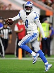 Detroit Lions quarterback Josh Johnson scores a 1-yard touchdown during the second half of the team's NFL preseason football game against the Cleveland Browns, Thursday, Aug. 29, 2019, in Cleveland.