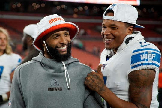 Browns wide receiver Odell Beckham Jr. talks with Lions wide receiver Marvin Jones at the end of the Lions' 20-16 preseason loss to the Browns on Thursday, Aug. 29, 2019, in Cleveland.