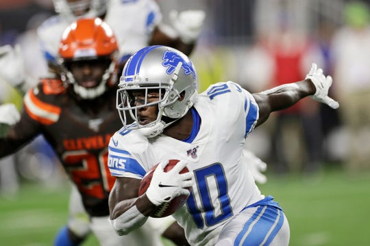 Detroit Lions' Brandon Powell (10) returns a kickoff during the first half of the team's NFL preseason football game against the Cleveland Browns, Thursday, Aug. 29, 2019, in Cleveland.