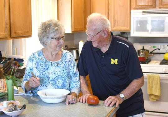 Newlyweds Dorothy Williams, 93, and Rich Rola, 88, seen in their Macomb Township home, look toward to their first wedding anniversary in September.