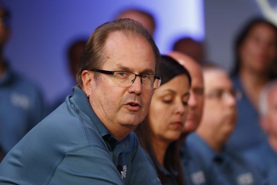 Gary Jones, United Auto Workers president, speaks during the opening of their contract talks with Fiat Chrysler Automobiles on July 16, 2019.