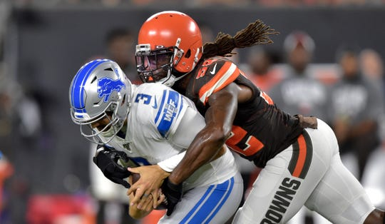 Browns linebacker Ray-Ray Armstrong (52) sacks Lions quarterback Tom Savage (3) during the first half of Thursday's preseason finale.