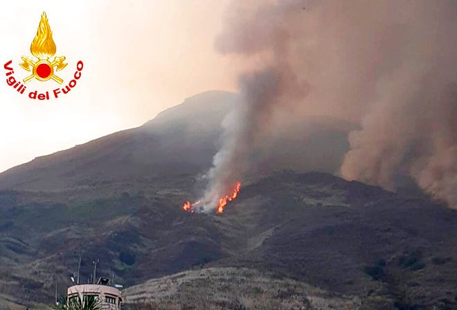In this frame grab taken from a footage provided by the Italian Firefighters, smoke billows from the volcano on the Italian island of Stromboli, Wednesday, Aug. 28, 2019.