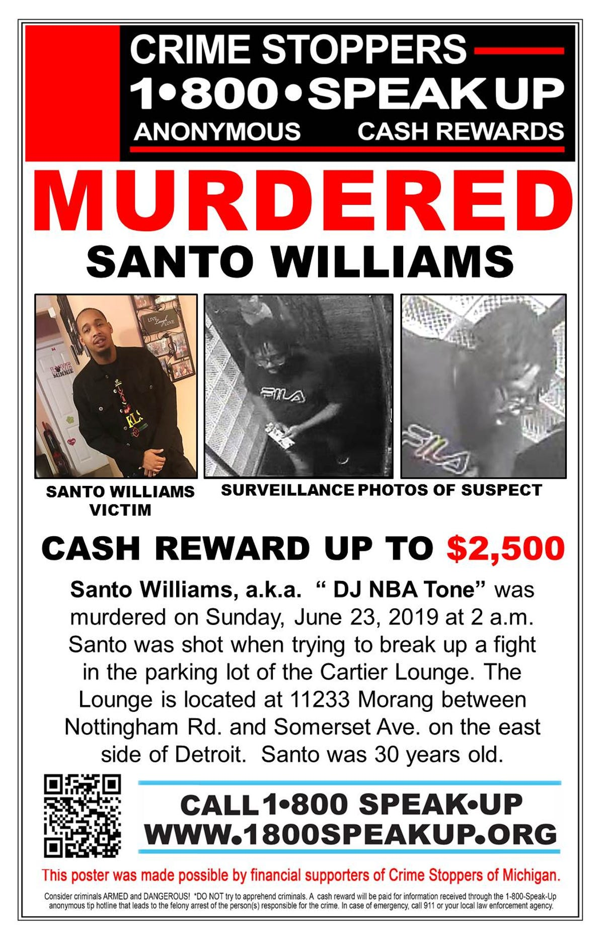 $2,500 reward for tips in slaying at Detroit lounge