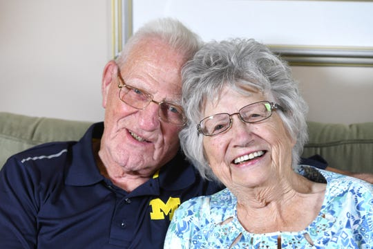 Newlyweds Rich Rola, 88, and Dorothy Williams, 93, seen at their Macomb Township home, look toward to their first wedding anniversary in September.