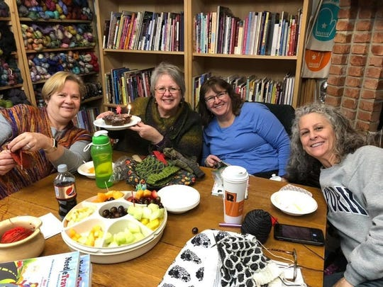 Attending a knitting class at Stitch in Time are, from left, Dawn Kay of Brighton, Lei Maier, Howell; Carolyn Niesen, Wixom, and Jennie Oosterhouse, Howell.