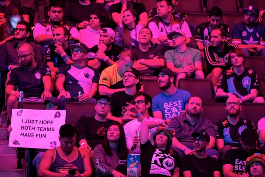 Fans take in the gaming action between Team Clutch Gaming and Team Counter Logic Gaming during their match at Little Caesars Arena Aug. 24 during the 2019 LCS Summer Finals.