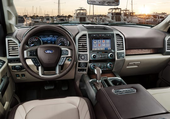 Ford's expansion from the 8-inch screen now available in the F-150, the 2019 F-150 Limited is shown, will match or surpass the display in FCA's Ram pickup.