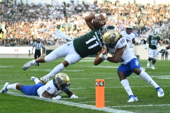Michigan State's Connor Heyward scored the offense's only touchdown of the game.