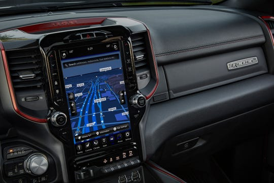 The display in FCA's Ram pickups have a massive 12-inch touchscreen that features split-screen capability, 360-degree camera views and exclusive content from SiriusXM.