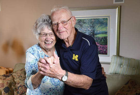 Newlyweds Dorothy Williams, 93, and Rich Rola, 88, dancing inside their Macomb Township home, look toward to their first wedding anniversary in September.