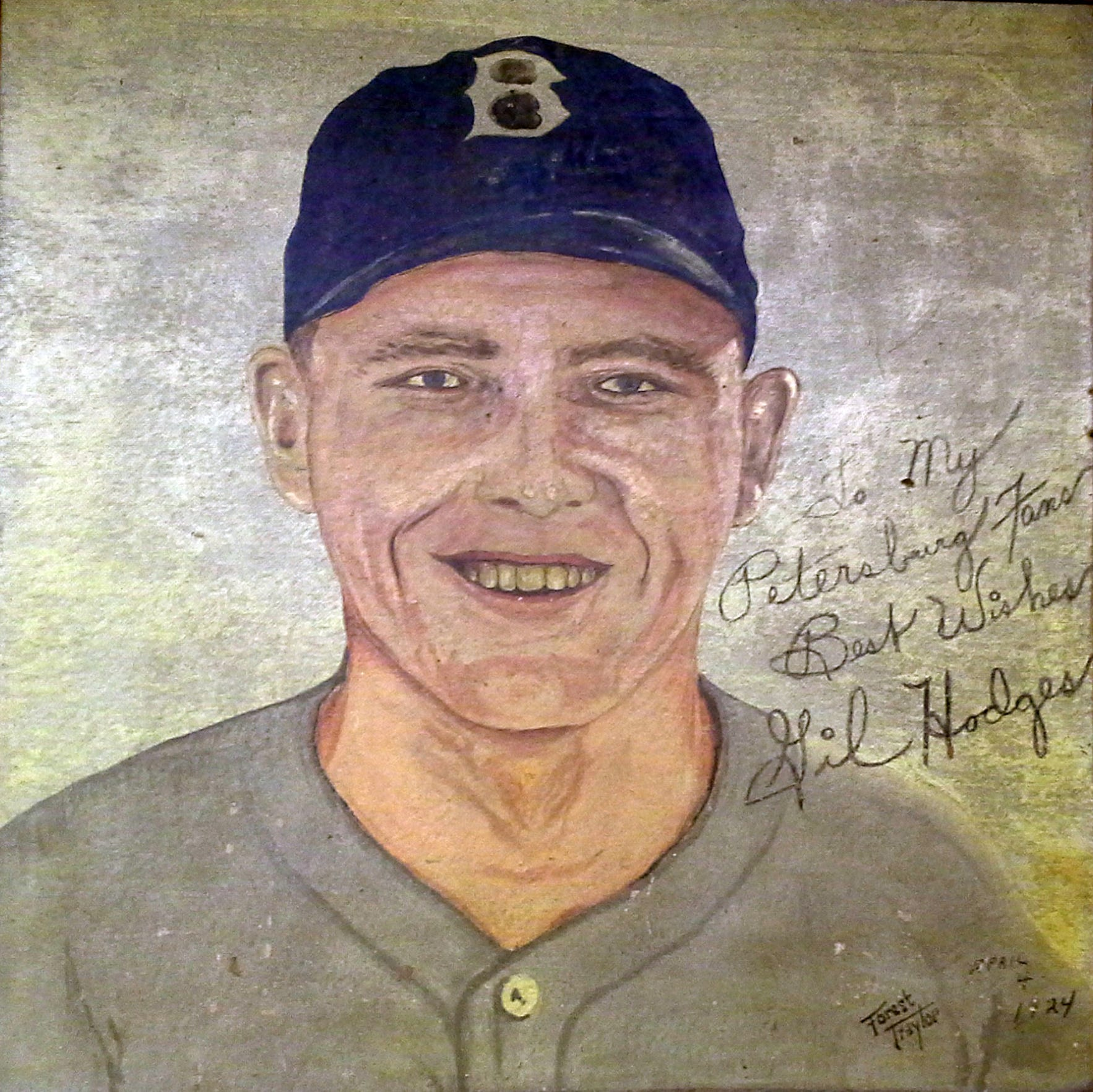 A large oil painting of Gil Hodges found in Vincennes (Gil signed it to his fans in Petersburg).