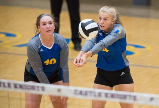 Castle sophomore Natalie Niehaus (4) sets the ball in an earlier match from this season.