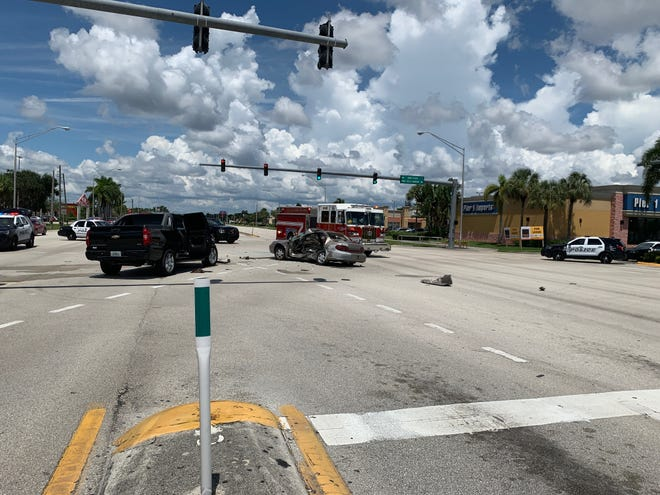 Two cars are left at the scene after hit-and-run accident with injuries closed down both the south and northbound lanes of US-41 at the Sam's Club intersection