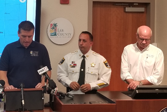 County Commissioner Brian Hamman, Sheriff Carmine Marceno, and County Manager Roger Desjarlis brief the media on Hurricane Damian.