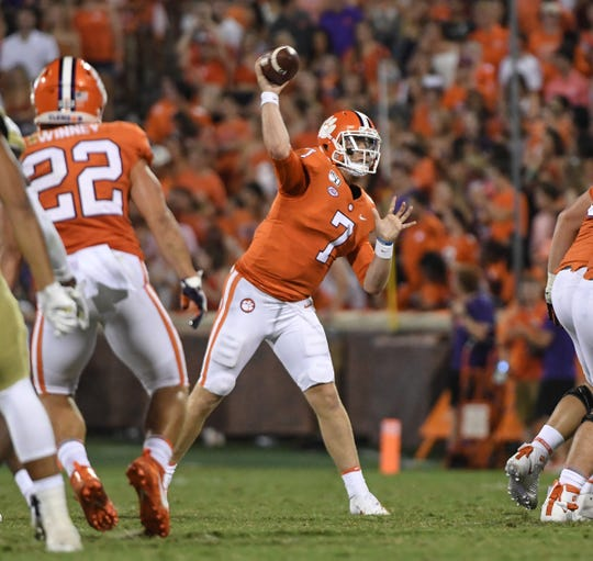 Clemson quarterback Chase Brice (7) passes against Georgia Tech during the fourth quarter at Memorial Stadium in Clemson Thursday, August 29, 2019.