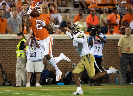 Clemson wide receiver Frank Ladson, Jr. (2) catches a pass in the end zone during the game against Georgia Tech Thursday, August 29, 2019.
