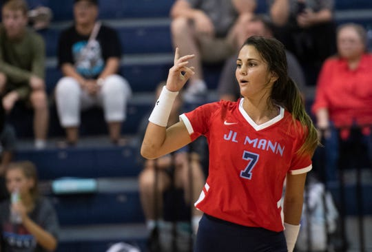 J.L. Mann's Lauren McCutcheon (7) plays in their home scrimmage against Mauldin Thursday, August 22, 2019.
